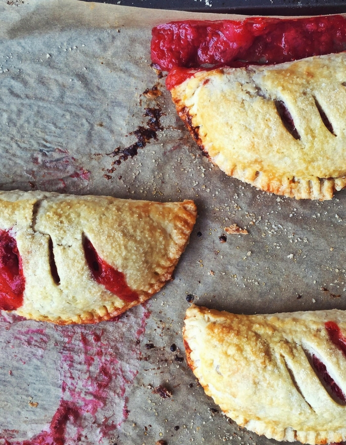 red berry rhubarb hand pie