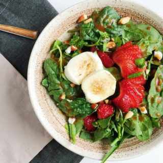 Caramelized Goat Cheese and Strawberry Spinach Salad