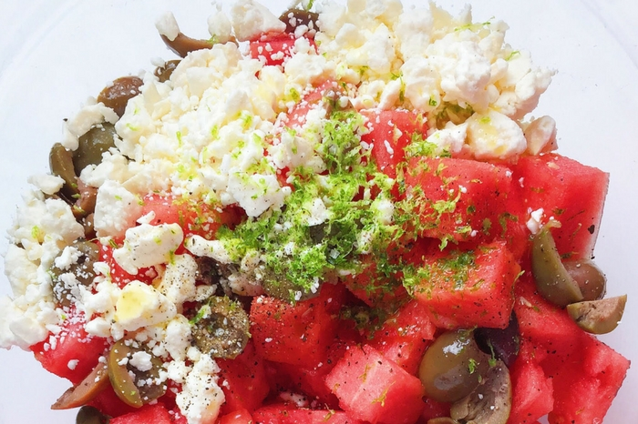 Watermelon, Feta and Olive Salad with Mint