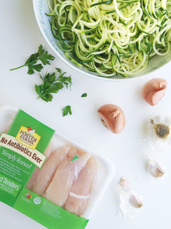 lightened up chicken alfredo with zoodles