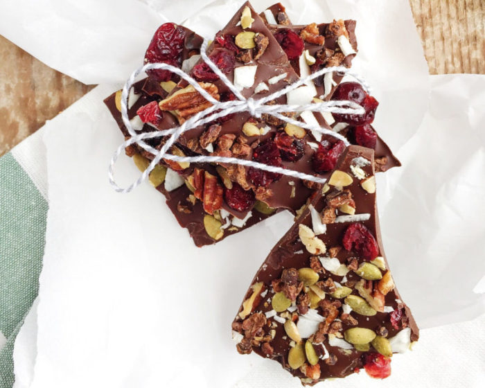 Cranberry, Pepita and Cocao Nib Chocolate Bark