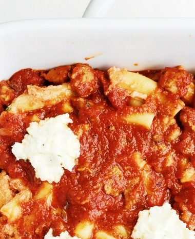 Three-Cheese Baked Ziti with Italian Sausage