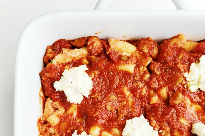 Three-Cheese Baked Ziti with Italian Sausage