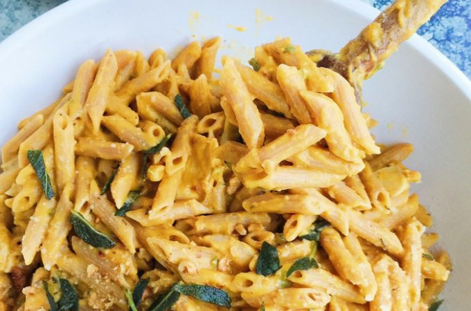 Butternut Squash Penne with Chicken and Fried Sage