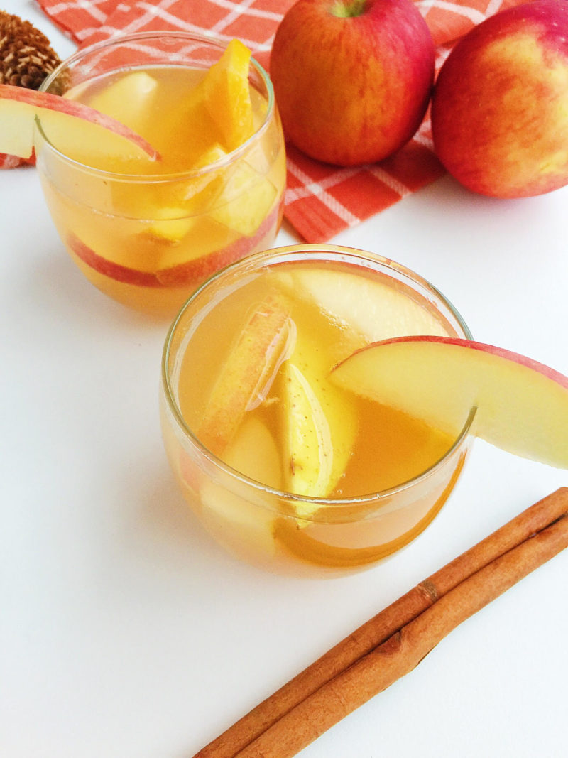 This Apple Cider Sangria is the perfect fall drink. Made with spiced apple cider, white wine, fresh fruit, brandy, and autumn spices. Cheers!