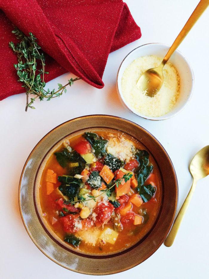 kale, tomato, and white bean soup