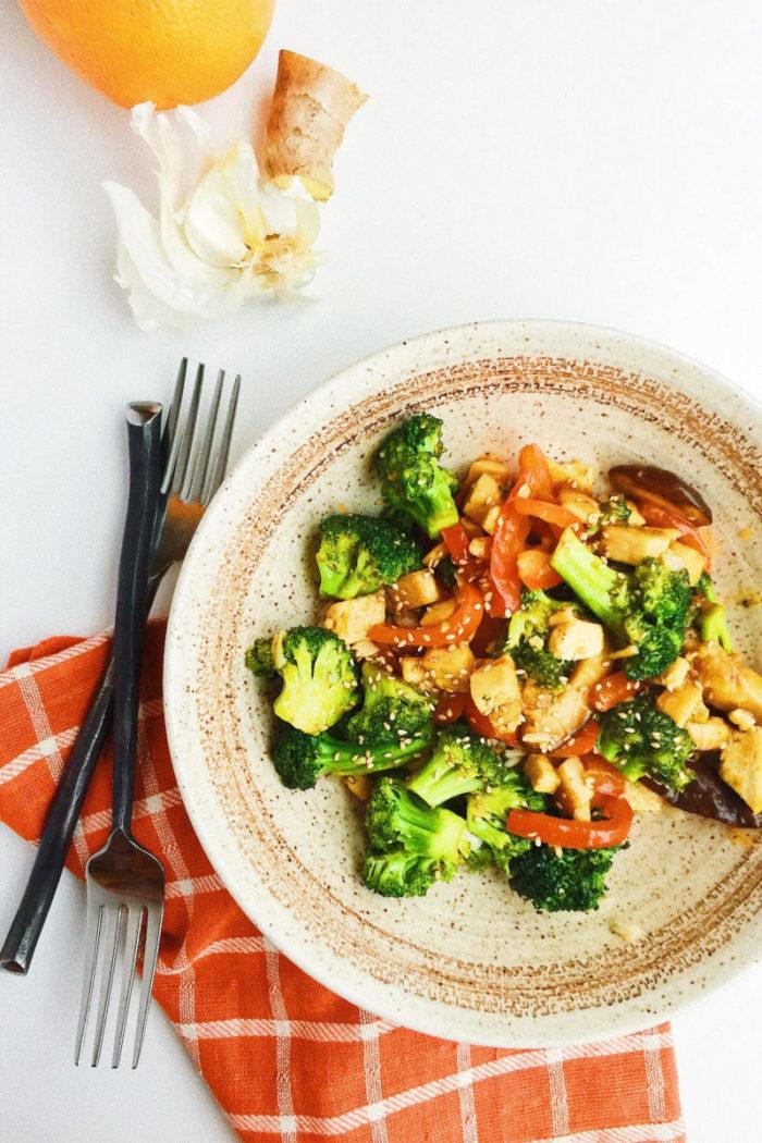 orange sesame tofu stir-fry