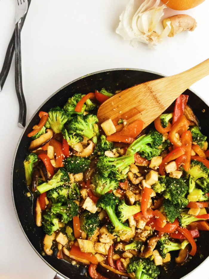 orange sesame tofu stir-fry