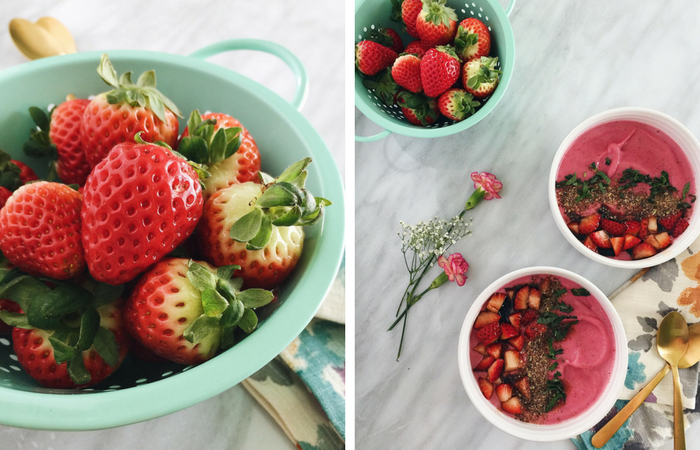 vegan strawberry balsamic smoothie bowl