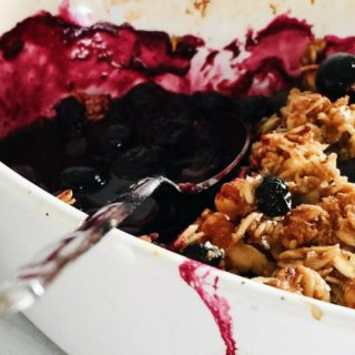 Gluten-Free Blueberry Crisp with Meyer Lemon and Ginger