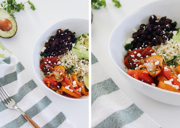 vegan black bean fajita bowls
