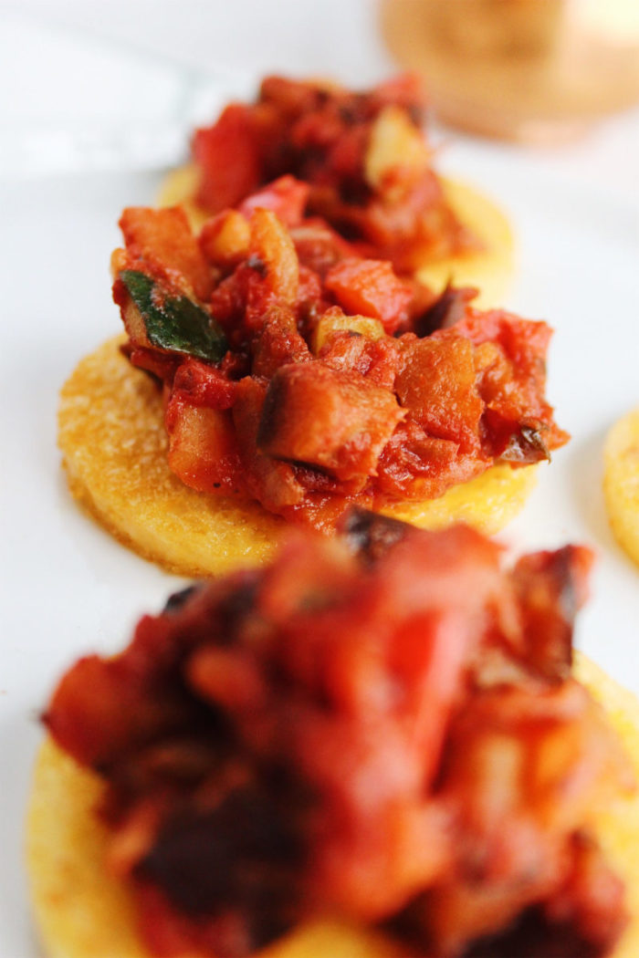 polenta rounds with ratatouille