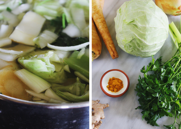 Detox Vegetable Broth with Turmeric and Ginger - Parsnips