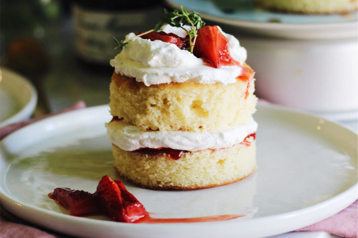 Mini Lemon Cakes With Thyme Roasted Strawberries And Whipped Creme