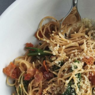 Whole Wheat Angel Hair with Pancetta and Broccolini