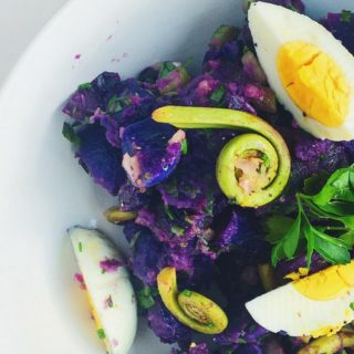 Purple Potato Salad with Fiddlehead Ferns