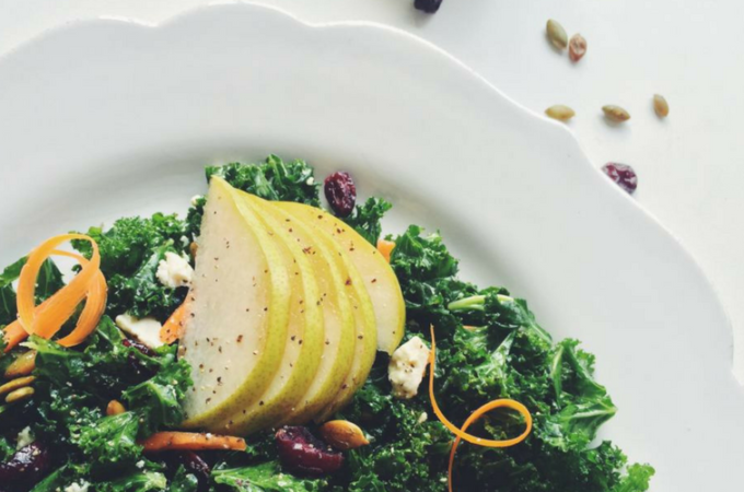 Harvest Kale Salad with Pepitas and Ricotta Salata