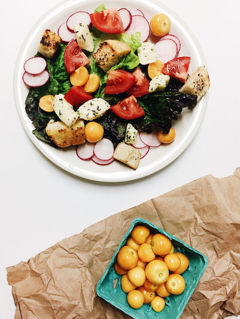 Cheese Curd Panzanella Salad