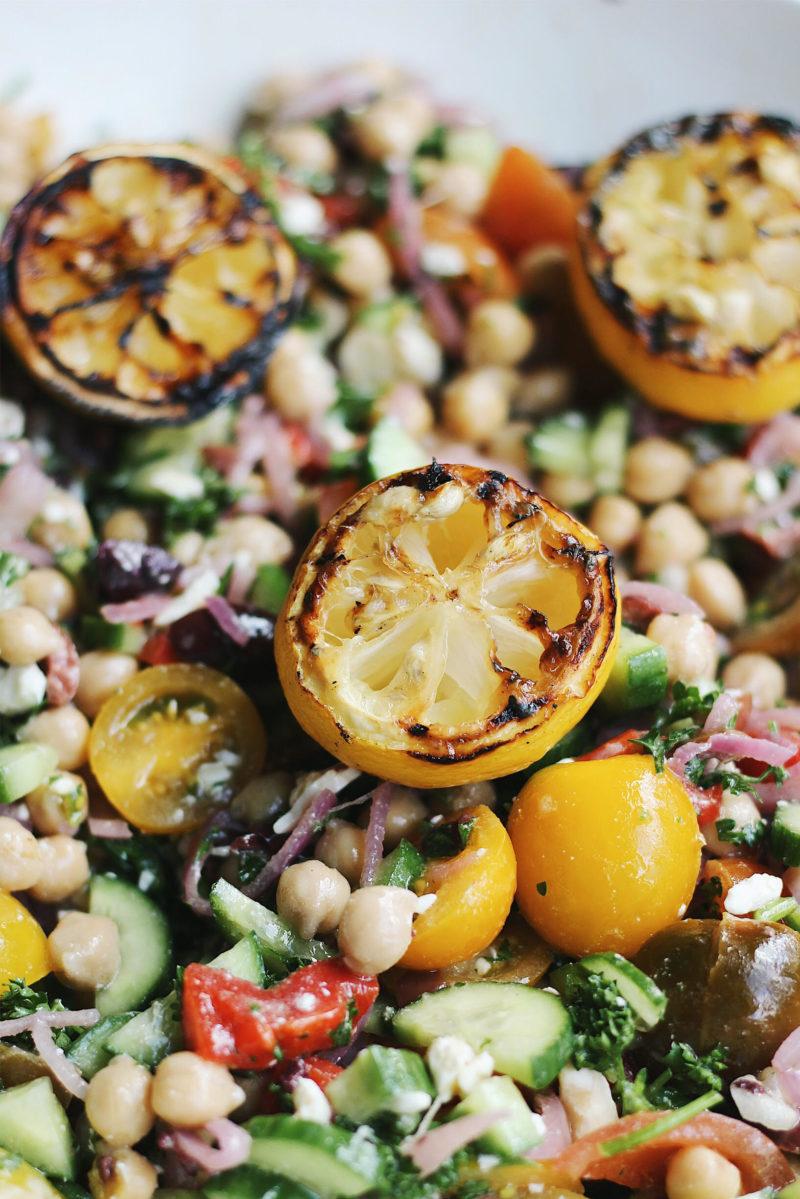 grilled lemon chickpea salad