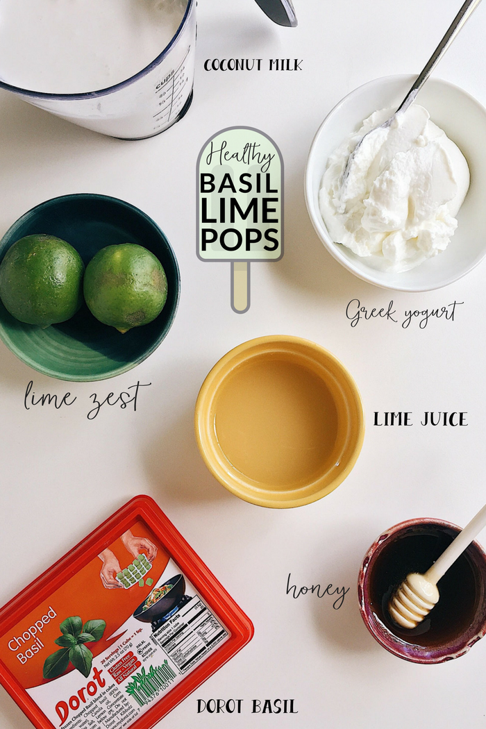 healthy basil lime yogurt popsicles