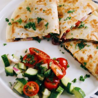 Mediterranean Quesadillas with Hummus and Feta (Gluten-Free)