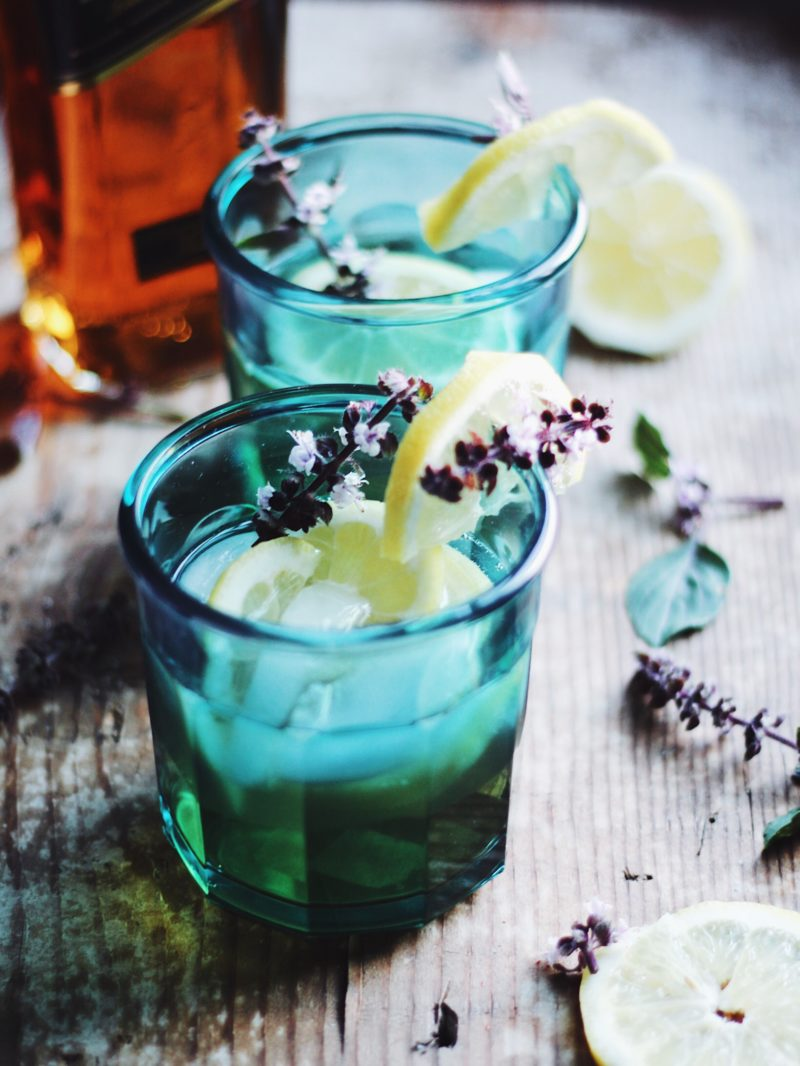 Blue Basil Whiskey Smash