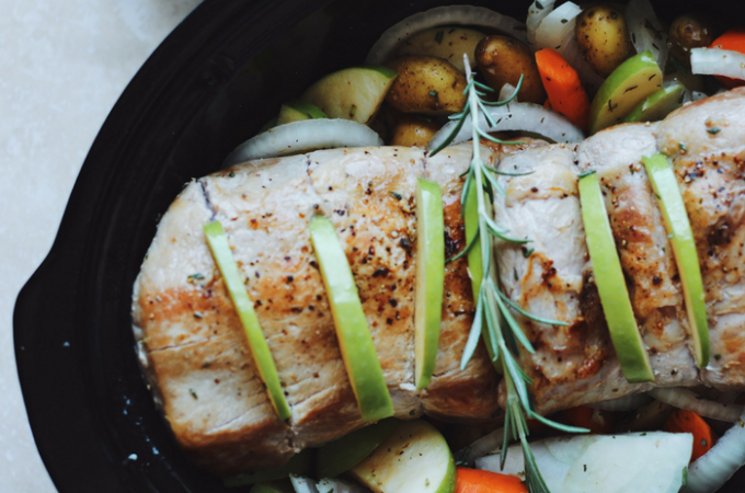 Slow-Cooker Pork with Apples, Rosemary, and Fingerling Potatoes (Whole30 + Paleo)