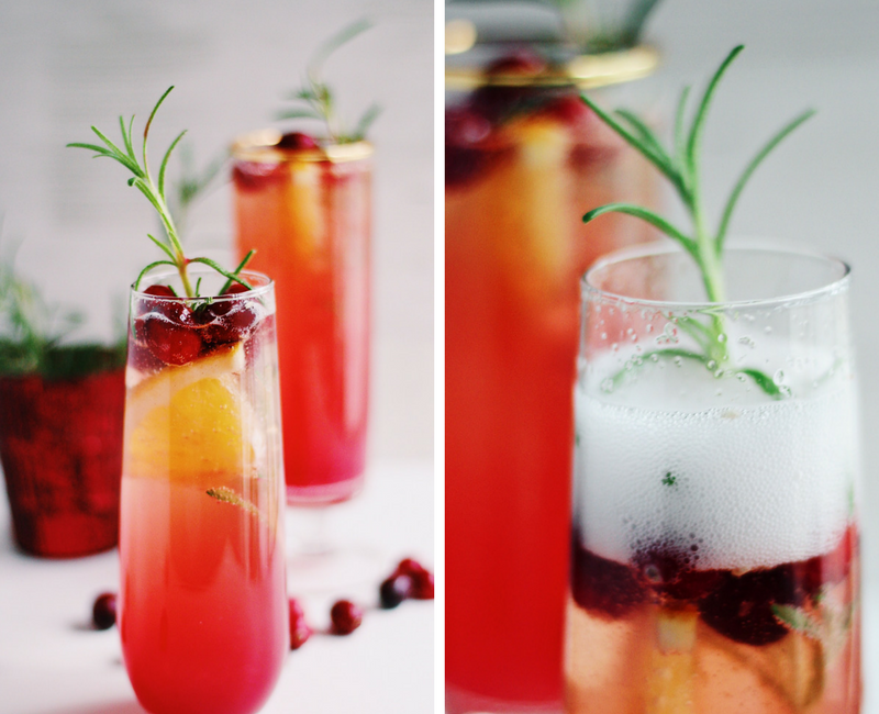 Rosemary Cranberry Champagne Cocktails