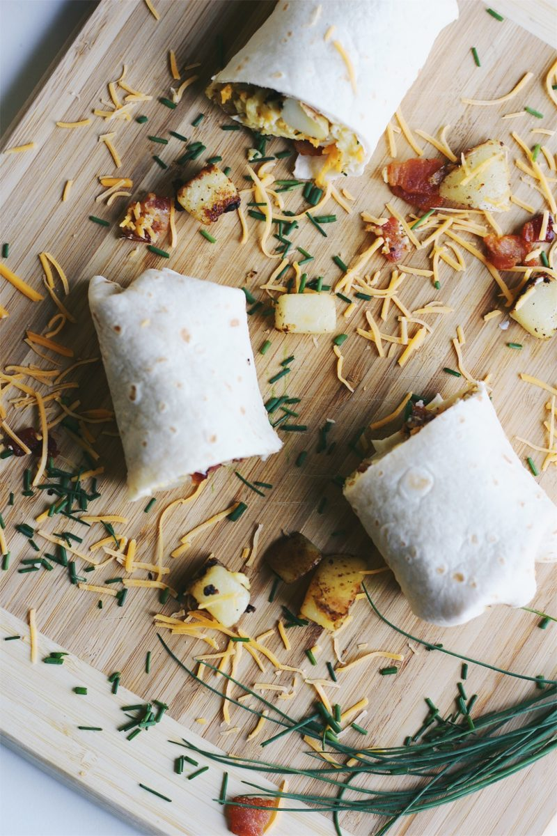 Loaded Potato Breakfast Burritos