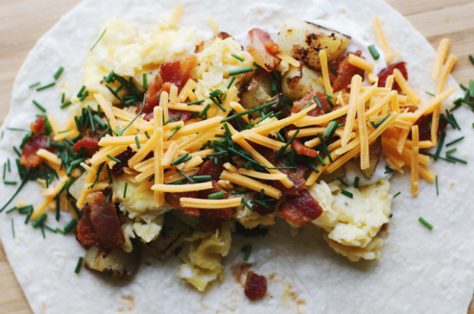 Low-Carb Loaded Potato Breakfast Burritos