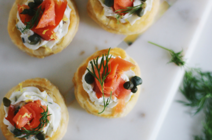 Goat Cheese Smoked Salmon Puff Pastry Bites