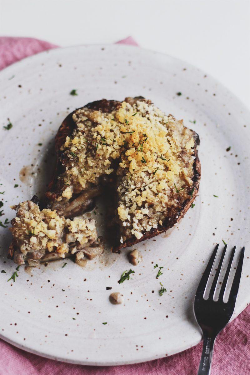Beef Stroganoff Stuffed Portobello Mushrooms