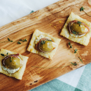 Olive and Goat Cheese Bites with Prosciutto, Lemon + Thyme