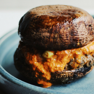 Whole30 Burger with Roasted Red Pepper and Basil Sauce