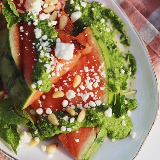Grilled Watermelon with Feta and Arugula-Mint Pesto