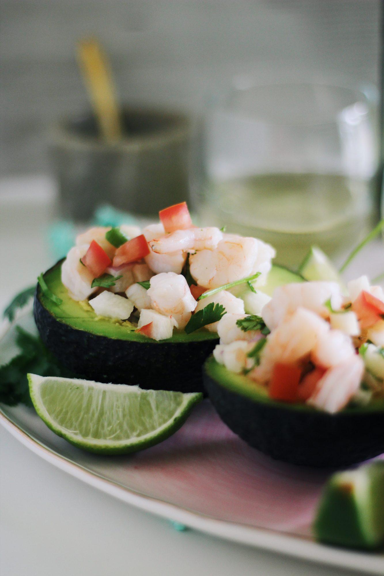 Shrimp Ceviche Stuffed Avocados