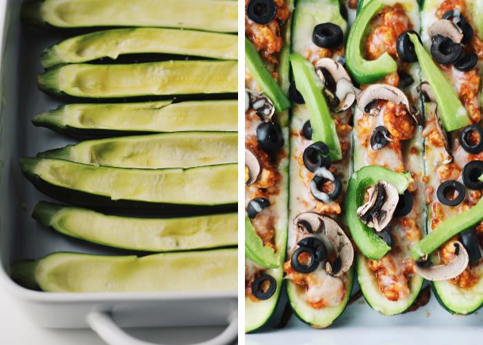 Healthy Pizza Stuffed Zucchini Boats