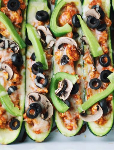 Healthy Pizza Stuffed Zucchini Boats
