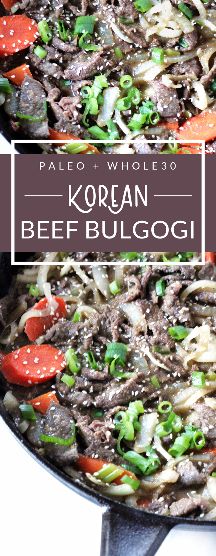 This Korean Beef Bulgogi comes from my friend Jean's cookbook, Korean Paleo: 80 Bold-Flavored, Gluten- and Grain-Free Recipes. This beef bulgogi is Whole30 compliant, paleo, and gluten-free.