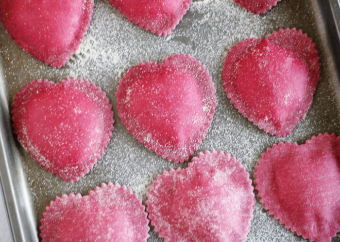 Heart-Shaped Beet Ravioli