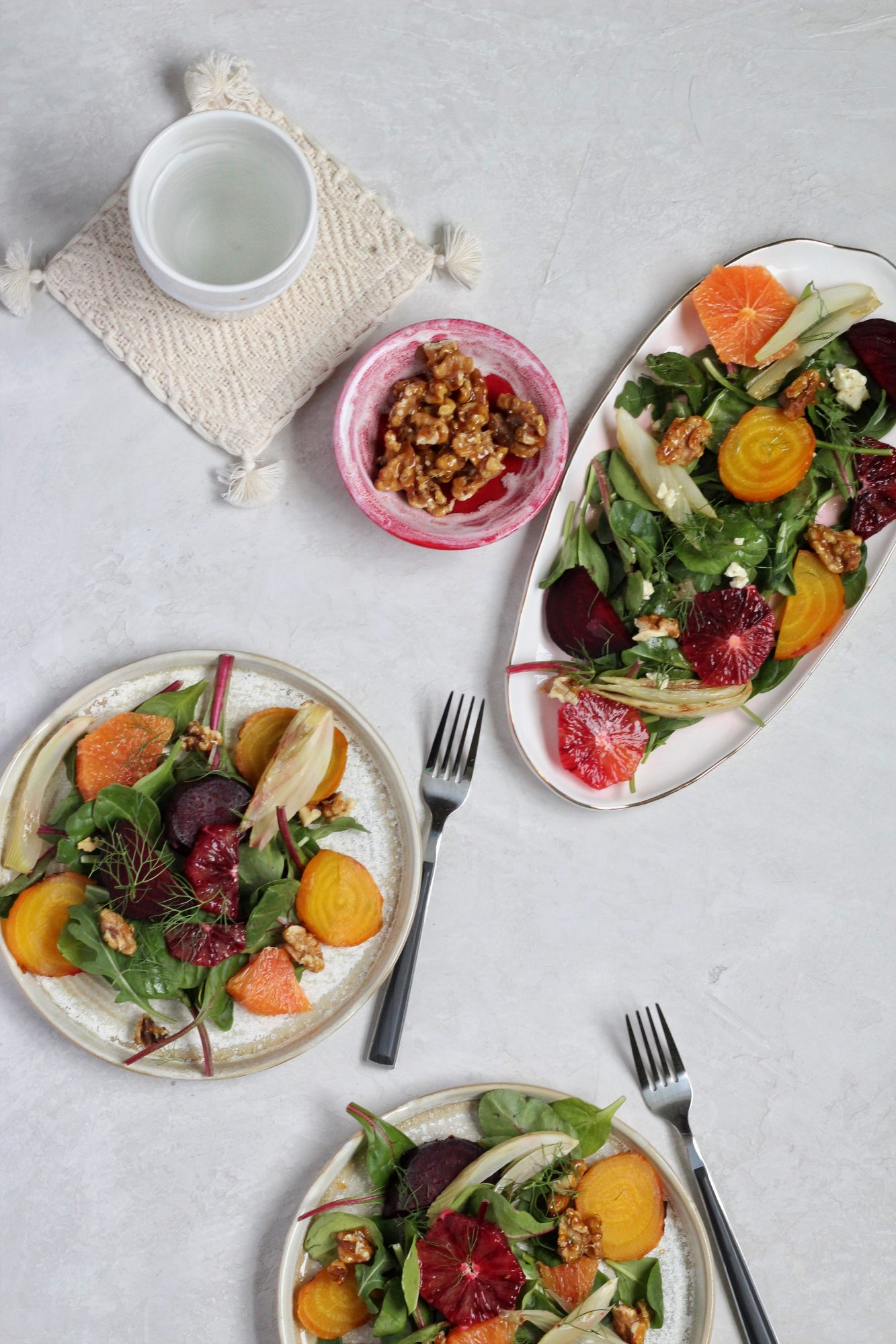 Beet Salad with Roasted Fennel, Blood Orange and Gorgonzola Vinaigrette