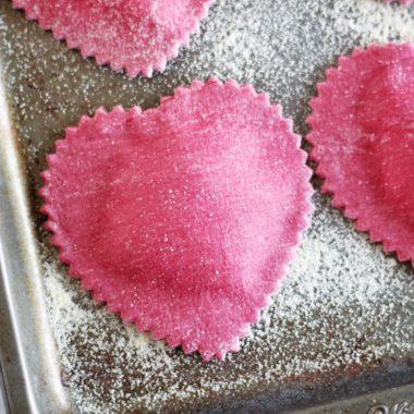 Heart-Shaped Beet Ravioli