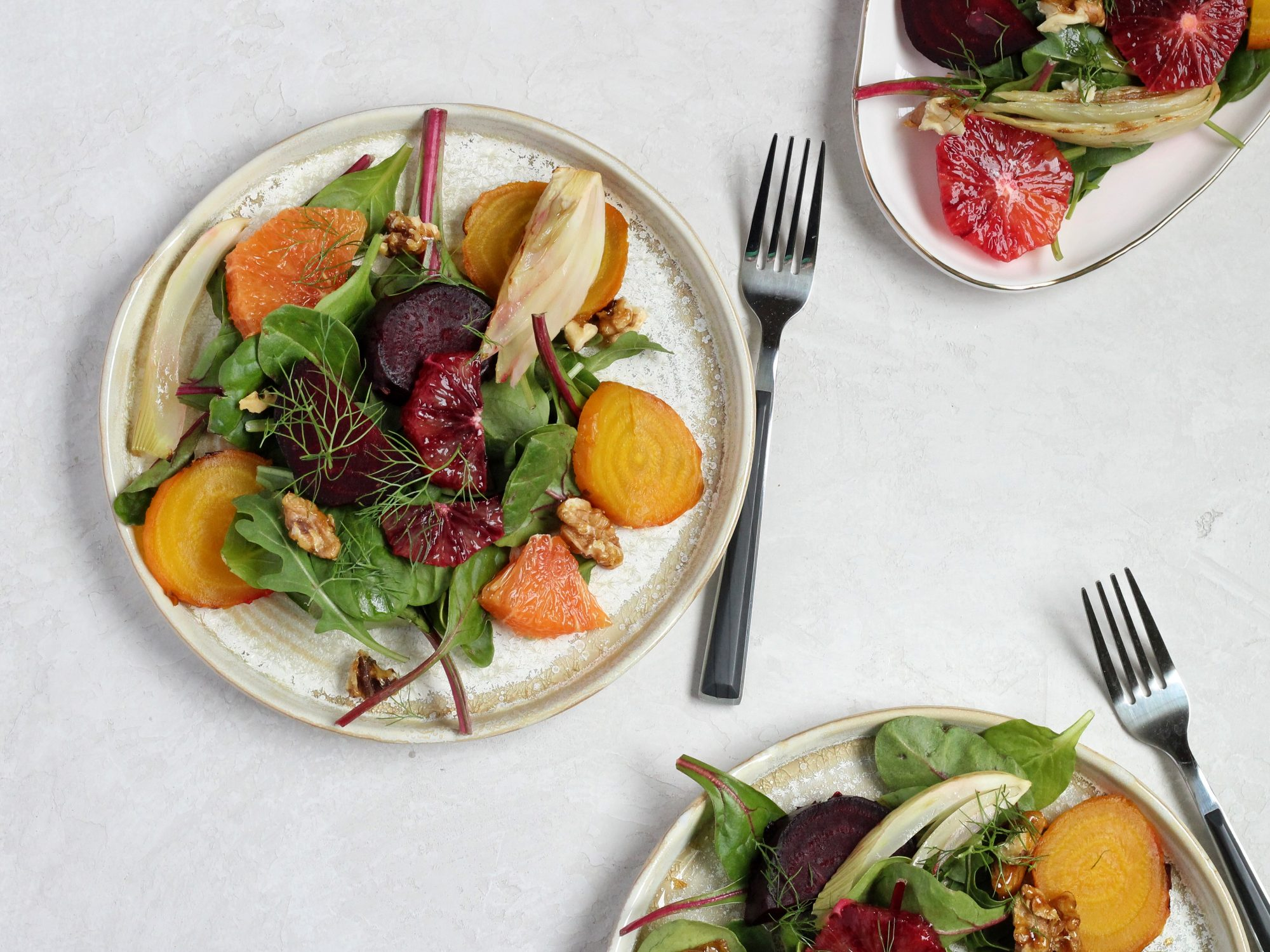 Beet Salad with Roasted Fennel, Blood Orange and Gorgonzola Vinaigrette