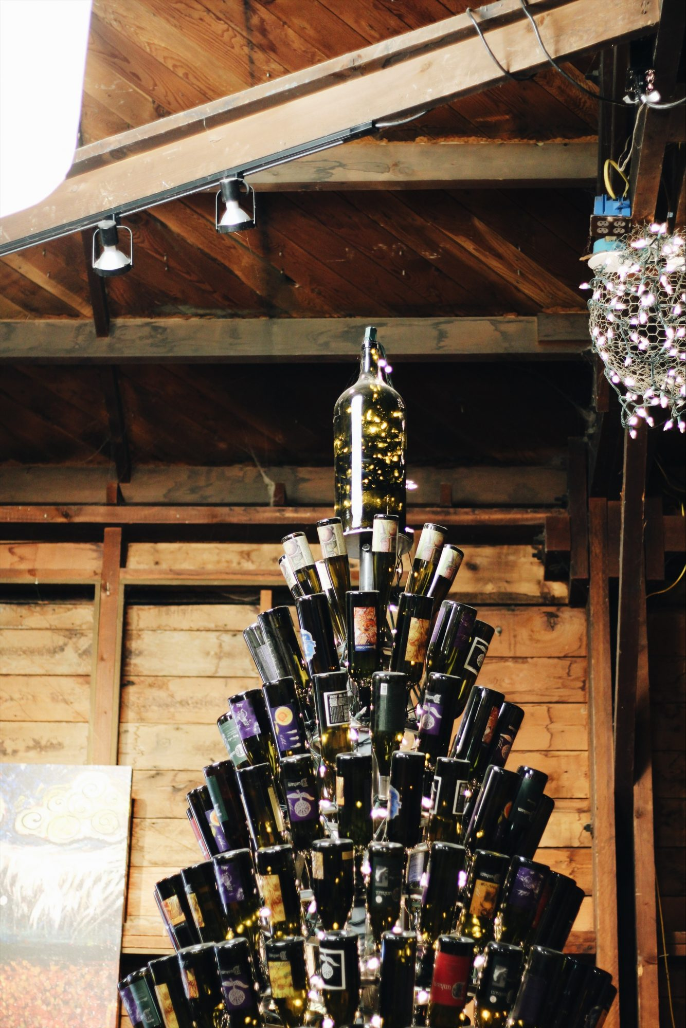 A wine bottle Christmas tree in Walla Walla