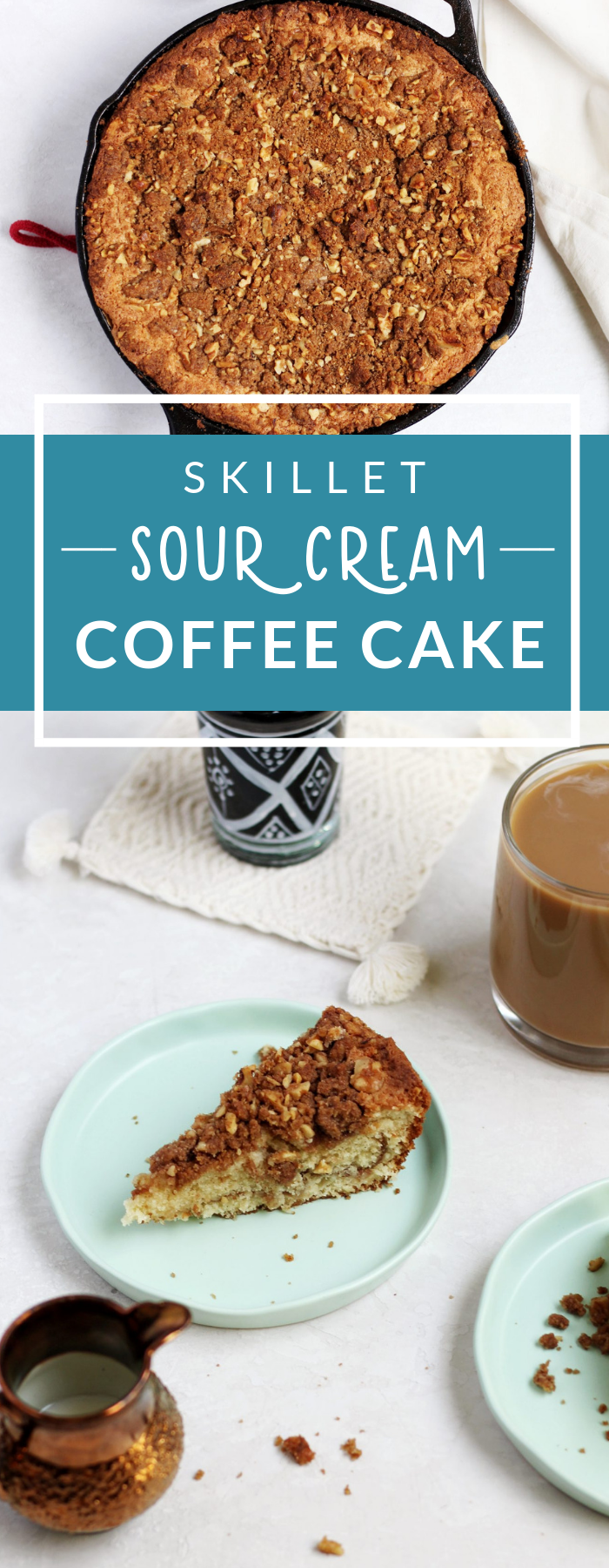 This Sour Cream Coffee Cake with a walnut streusel is delicious, tender, and has double the streusel. Easy to make in your skillet!