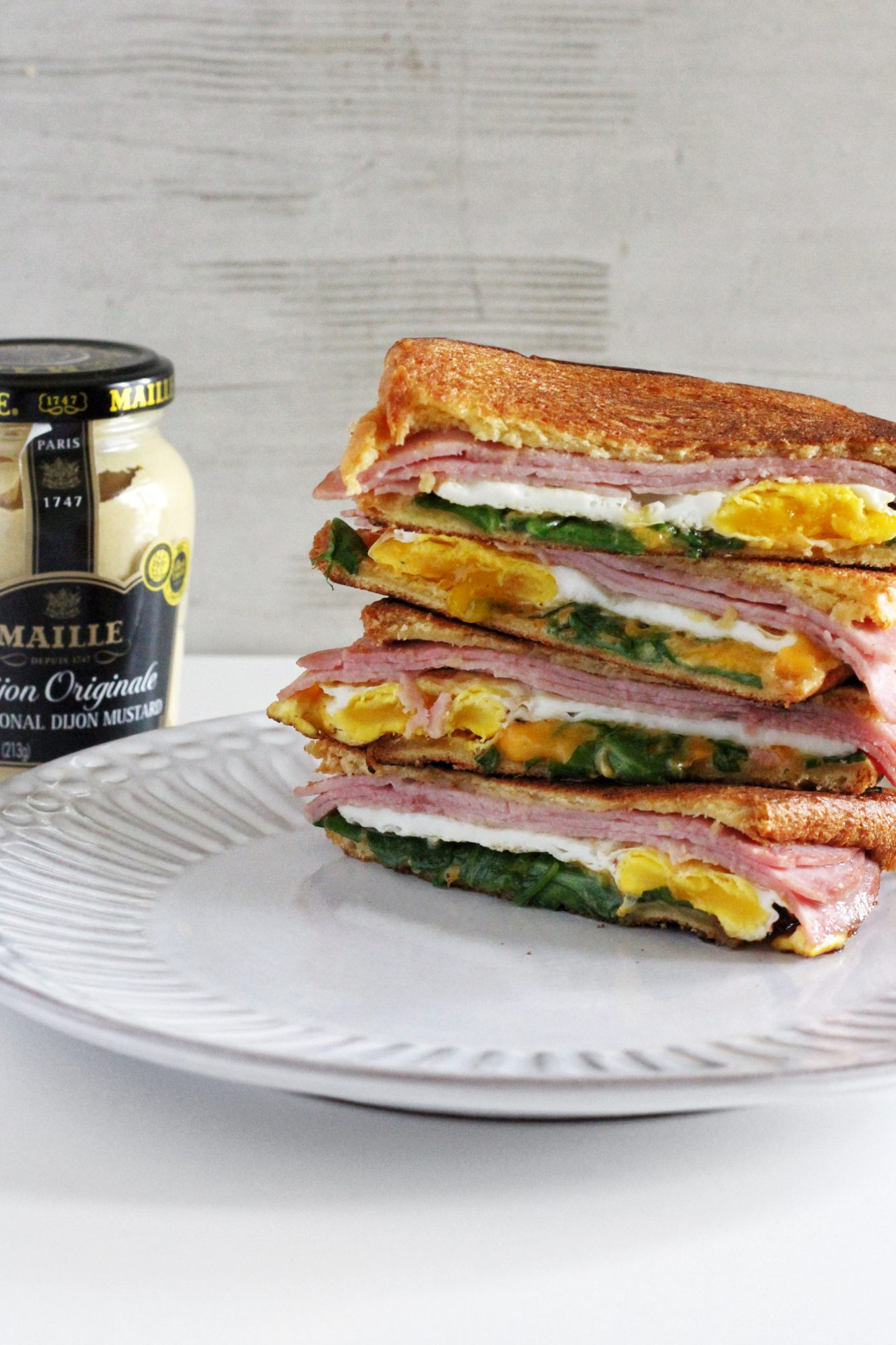 Grilled ham, egg, and cheese made with tangy, bold Dijon.