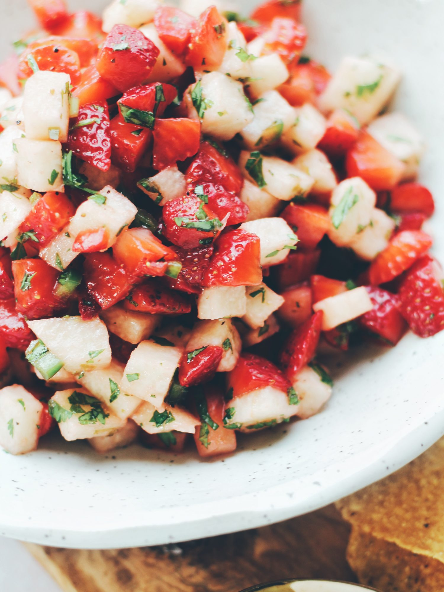 Sweet and spicy Jicama Strawberry Salsa is perfect for spring and summer