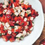 This salsa is made with strawberries, jicama, lime, jalapeño, honey, mint, and cilantro