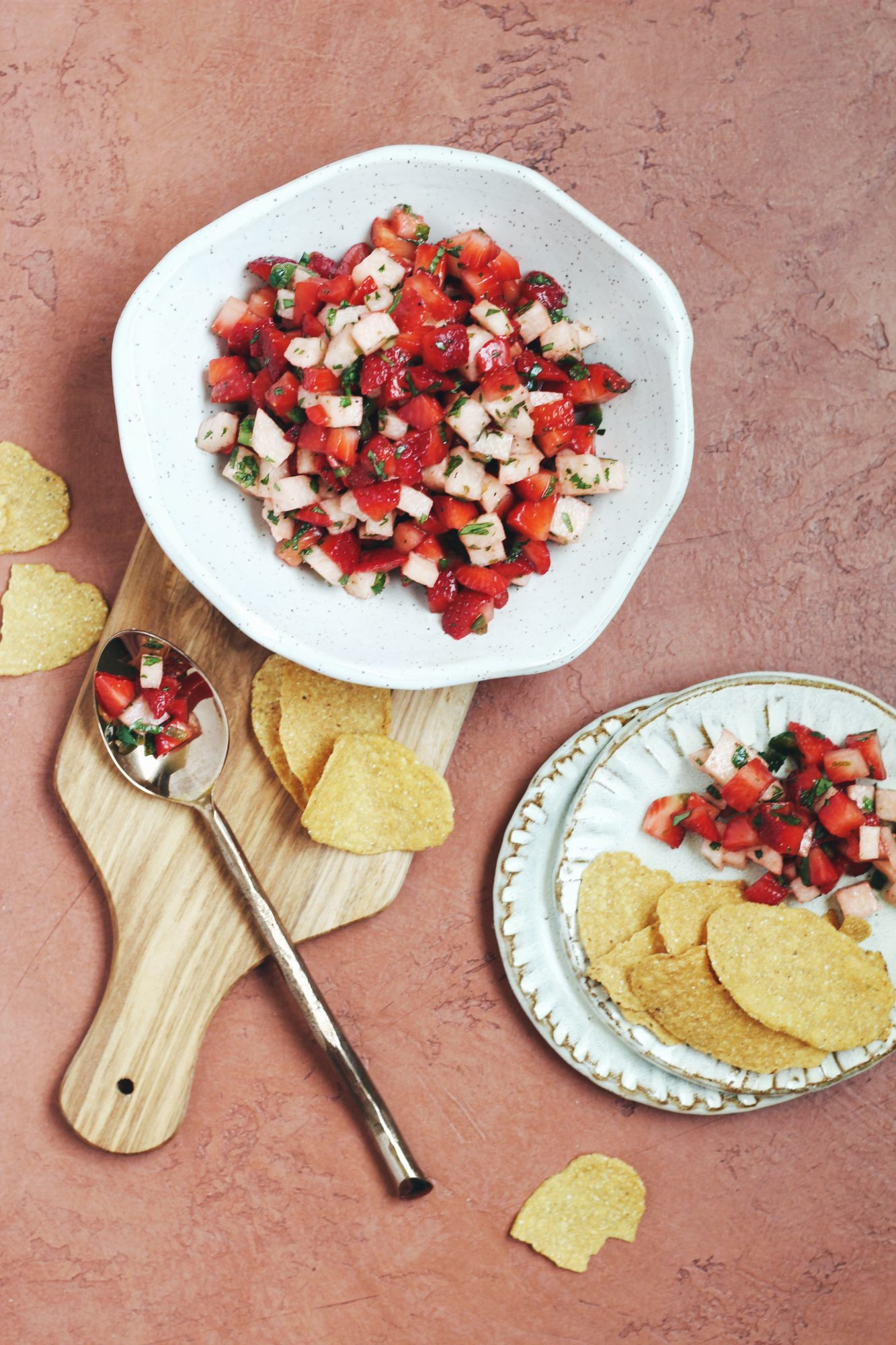 Strawberry salsa gets made with jicama for a crunchy and refreshing bite