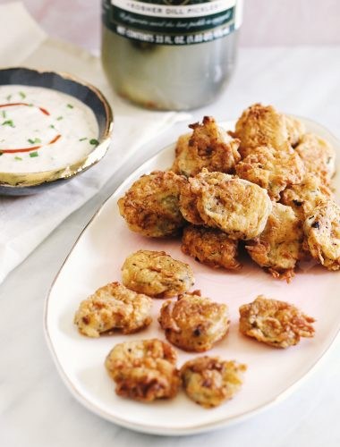 fried pickles with homemade Sriracha ranch